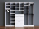 White Stand Alone Reach in Closet with Shelving Closet Rods and Dresser Drawers