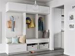 California Closets White Mudroom Storage with Cabinets Drawers Coat Hooks Bench Seating and Wicker Storage Baskets