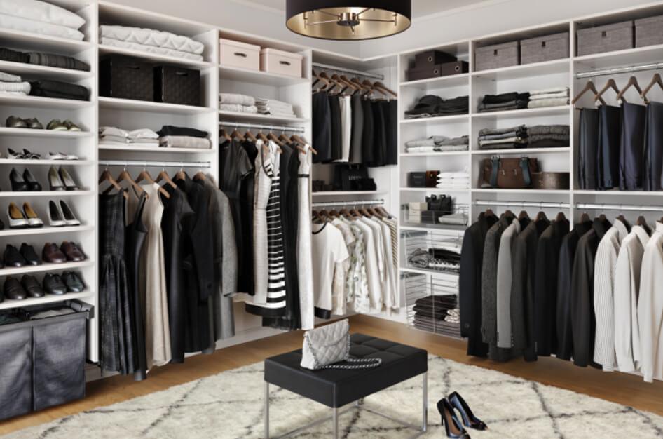 Black and white elegant walk in closet